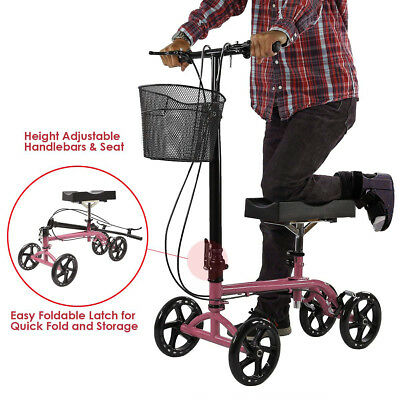 Clevr Foldable Steerable Knee Walker Aid Scooter Roller Alternative Crutch Pink