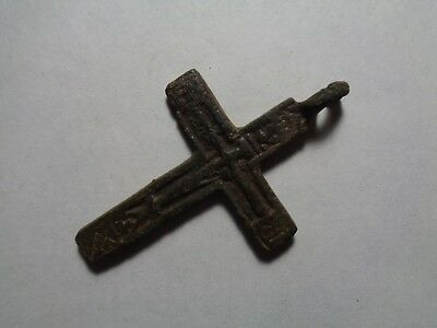 Russian empire old orthodox bronze uncommon pendant cross 1700-1800s original 91