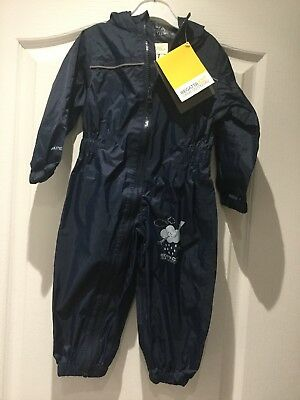 Bnwt Baby Boys Regatta Paddle Nylon Rain Suit Navy Blue Age 12-18 Months Eur 86