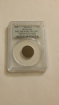 PCGS MINT ERROR NETHERLANDS EAST INDIES 1838 1C D/S-2nd Strike 70% O/C