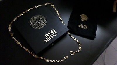 Auth GIANNI VERSACE Vintage Gold Plated Chain Gold Medusa