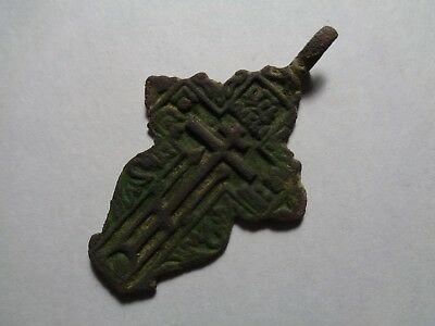 Russian empire old orthodox bronze female pendant cross 1800-1900s original 100