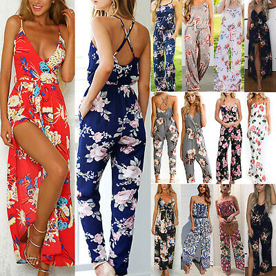 Plus Size Boho Womens Floral Holiday Long Playsuits Dress Trousers Jumpsuit 6-18