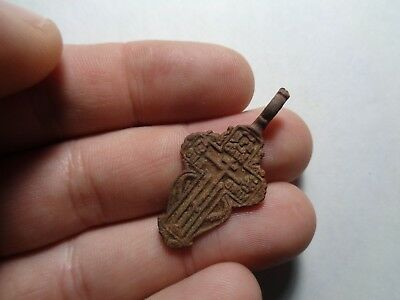 Russian empire old orthodox bronze female pendant cross 1800-1900s original 102