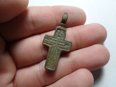 Russian empire old orthodox bronze male pendant cross 1800-1900 AD original 104