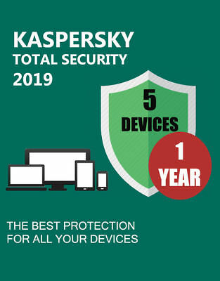 Kaspersky Total Security 2018 2019 5 dispositivos 1 año en todas las regiones