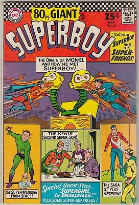 Superboy #129 Dc Comics Vg Condition Origin Mon-El 80Pg Giant G22