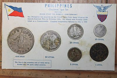 1907 - 1934  Phillipines Circulated Coin Set - 6 coins - One peso to One Ctvo