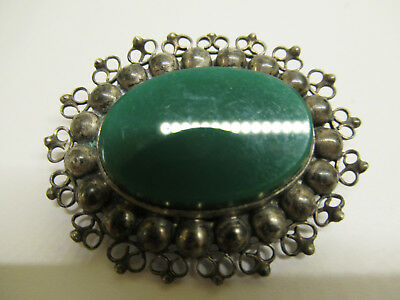 Antique Sterling Silver Filigree Green Stone Pin Broach