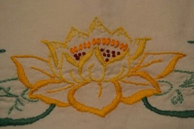 Pair of Embroidered Standard Pillow Cases with Crocheted Edges Pink/Yellow