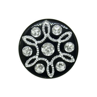BLACK DIAMANTE SHANK BUTTONS 15mm and 20mm