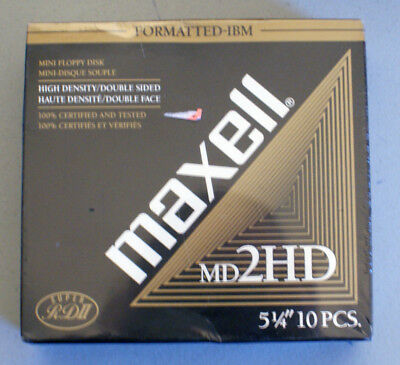 """Maxell MD2HD 10 Piece 5 1/4"""" Formatted Floppy Disks In Sealed Package - NEW"""