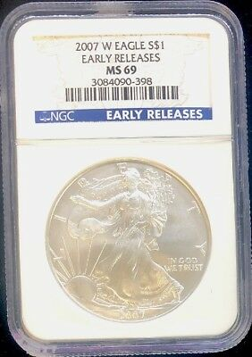 2007-W BURNISHED American Silver Eagle ASE S$1 NGC MS69 Early Releases