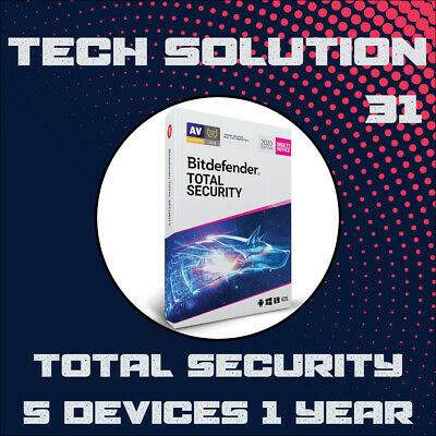 BitDefender Total Security 2020 5 Devices 1, 2, 3, 4 & 5 Years + Free Gift
