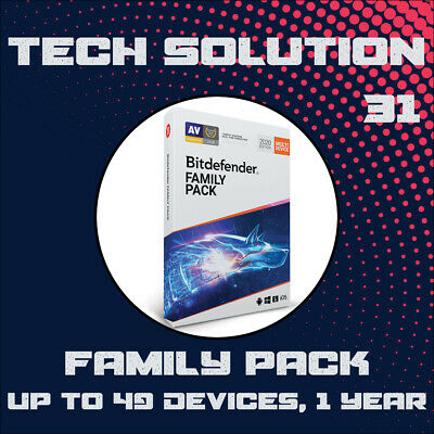 Bitdefender Family Pack 2020 Unlimited Devices, 1, 2, 3, 4 & 5 Years + Free Gift