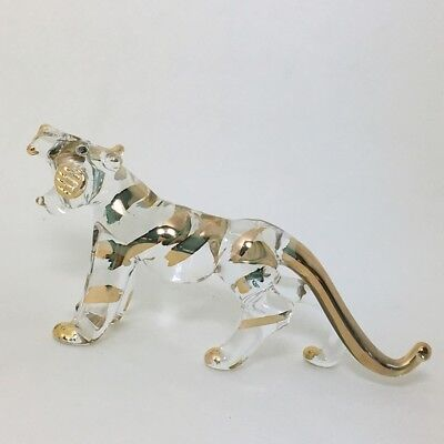 Miniature Animal Gold Trim Tiger Figurine Hand Blown Clear Glass