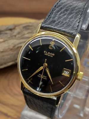 Vintage Eldor Geneve Hand Winding Men Wrist Watch 20 Micron Gold Plated