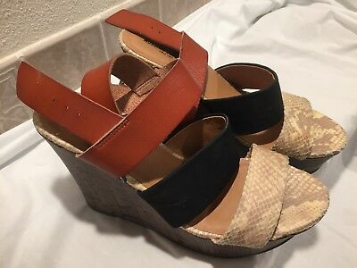 872f4e8e2aa Women s Mossimo Supply Co. Platform Wedge Sandals Size 9 Strap Brown Snake  Black