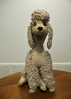 """Poodle - Vintage - Plush - Antique - Very Old - Rare - Life Size - Over 25"""" Tall"""