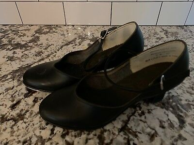 8 M Black All Leather Bottom Tap Shoes