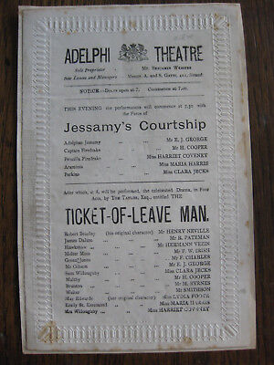 Adelphi Theatre Programme c. 1878 - Ticket of Leave Man - Henry Neville