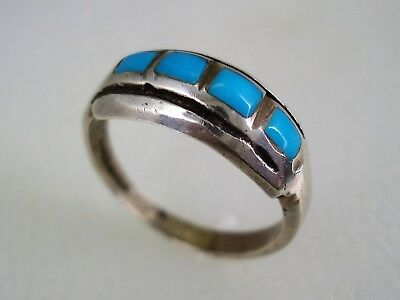 OLD ZUNI STERLING SILVER & FLUSH SET TURQUOISE ROW RING sz 10