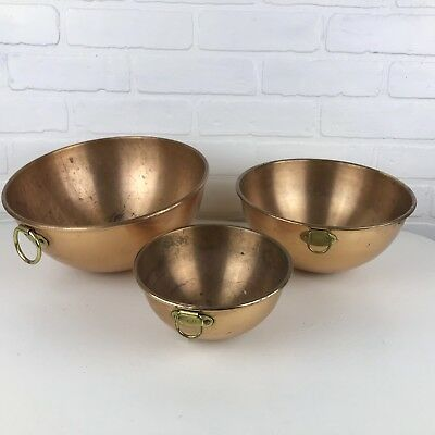 Vintage Round Bottom Rolled Lip Copper Mixing Bowl w/ Brass Ring Set of 3