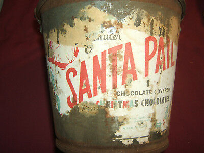 VINTAGE 1930s? EMPTY SANTA PAIL CHOCOLATE COVERED CHRISTMAS CHOCOLATES