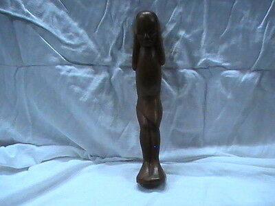 "Hand Made Wooden Statue African India Far East 10"" tall Carriyng Bundle on Back"