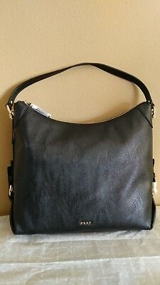 6bba4453cee8 DKNY NEW BLACK Pebble Leather Split Charm Elissa Top Handle Tote Bag ...