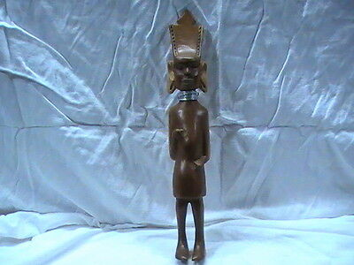 "Hand Made Wooden Statue African India Far East Metal Wire Neck 15"" missing spear"