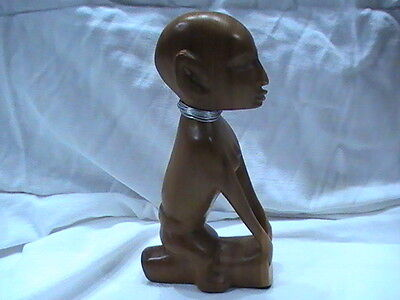 "Hand Made Wooden Statue African India Far East 7"" tall sitting on log"