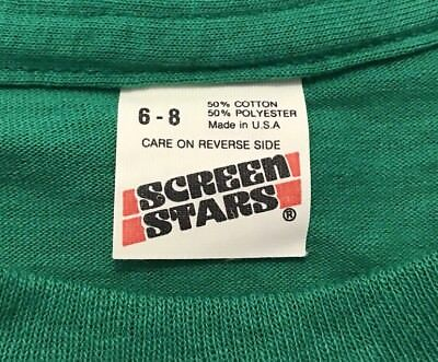 Vintage Screen Stars Blank Kids T-Shirt Youth Small 6-8 Green Made in USA 1980s