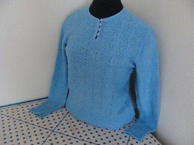 Vtg Retro 70s Jantzen Button Front Acrylic Ribbed Cable Knit Sweater Top Shirt