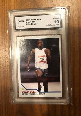 2008 Sports Illustrated SI for Kid~USAIN BOLT #294 RC~Rare Rookie Card~GMA 10
