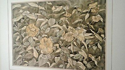 Vintage Still Life Painting Flowers Yellows Greens