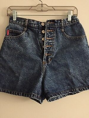 Bongo By Gene Montesano Women's Vintage 80's Blue Jean Button Fly Shorts, Size 9