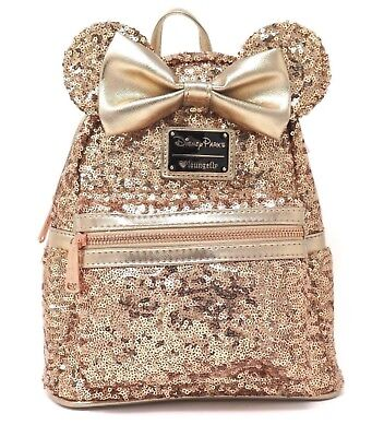 Disneyland Parks Loungefly Minnie Mouse RoseGold Sequin Backpack Disney OarksNWT