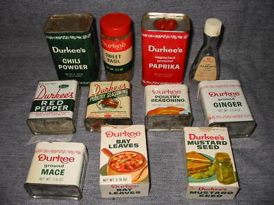 Vintage Durkee Spice Tins Boxes
