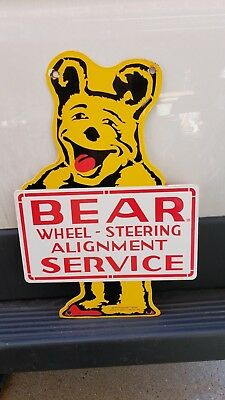 Bear Alignment Double Sided Porcelain Sign Garage Auto Repair Service 55 Signed
