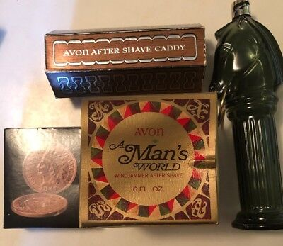 Lot of 4 Vintage Avon for Men After Shave Decanters-Some Unused