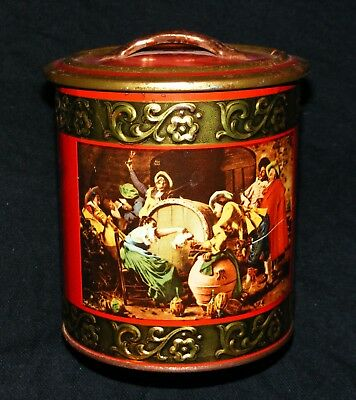 Vintage German Tin w/Handled Lid Can be Used for Tobacco/Tea/Biscuits/Coffee