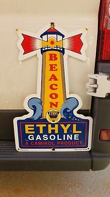 "LARGE BEACON ETHYL PORCELAIN GAS PUMP PLATE SIGN 22"" x 14"" LIGHT HOUSE USA 59"