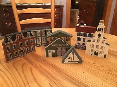 Cats Meow Handmade Wooden Village Lot Of 7 Plus Bonus