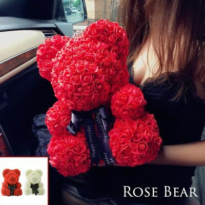 Teddy Bear Lovely Big Red Rose Flower Bear Toys Creative Valentine'S Gifts 45cm