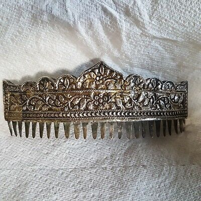 Antique Chinese silver hair comb scrolling foliage & flower curved coronet shape
