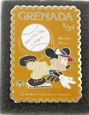 1979 Grenada 1/2 Cent Stamp Pin Disney Mickey Mouse Baseball Mouseketeer Mint