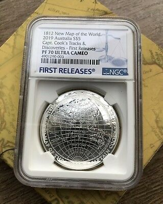 NGC PF70 Australia 2019 New Map Of The World Captain Cooks Silver Coin 1oz $5
