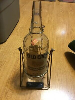 Rare Vintage Old Crow Bourbon Whisky Bar Back Wire Framed Swivel Bottle Display