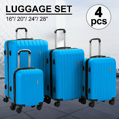 "4PCS Luggage Travel Set ABS Spinner Bag Suitcase w/ Lock Blue 16"" 20"" 24"" 28"""